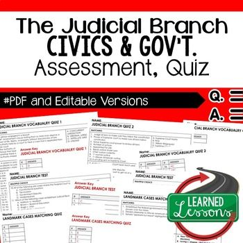 Judicial Branch Test, Executive Branch Quiz, Civics Assessment