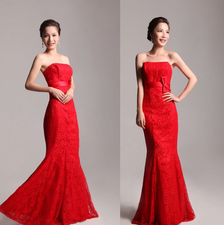 Red Lace Fish Tail Dress