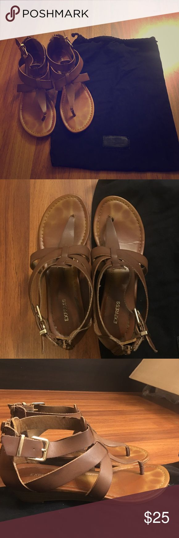 Express sandals Great condition! Wore a couple times. Size 8, true to size. Throwing in a drawstring bag from express that I got for free with a pair of shoes Express Shoes Sandals