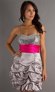 Silver Sweetheart Spaghetti Strap Ruffled Sequin Short Party Dresses Vestidos de fiesta cortos
