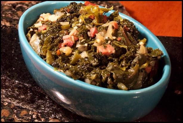 """Perfect Southern Greens: """"This recipe yields the best tasting greens I have ever eaten! I have yet to have a batch of bitter greens when cooked this way."""" -NcMysteryShopper"""