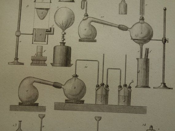 1852 CHEMISTRY print old pictures of glassware by DecorativePrints