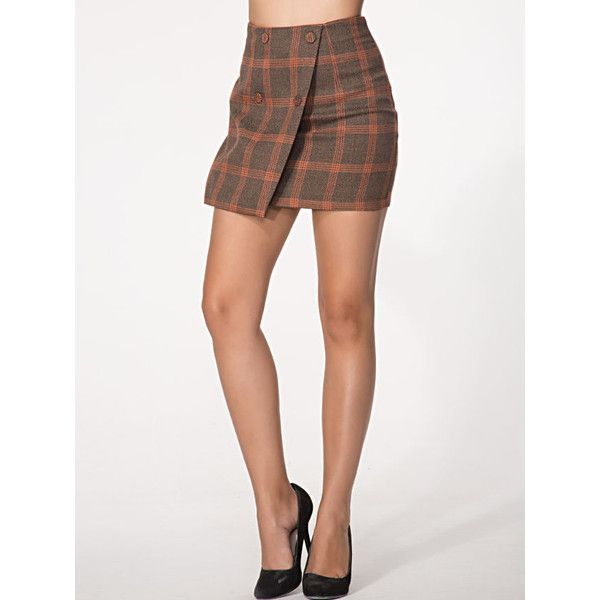 Double Breasted Plaid a-line mid-rise waist mini Skirt ($27) ❤ liked on Polyvore featuring skirts, mini skirts, a-line skirts, plaid skirt, white mini skirt, mini skirt and tartan plaid mini skirt
