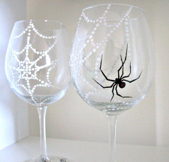 Halloween Glassware Spider Web Wine Glasses Set of by SwirlyGarden, $40.00