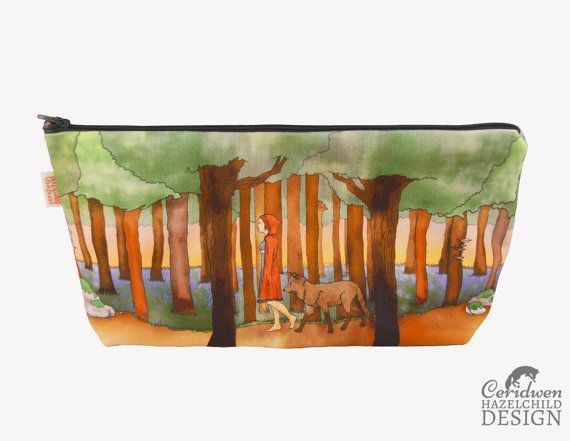 Red Riding Hood Toiletry Wash Bag / Makeup Bag / Pencil Case by ceridwenDESIGN http://ift.tt/1QjxUGe