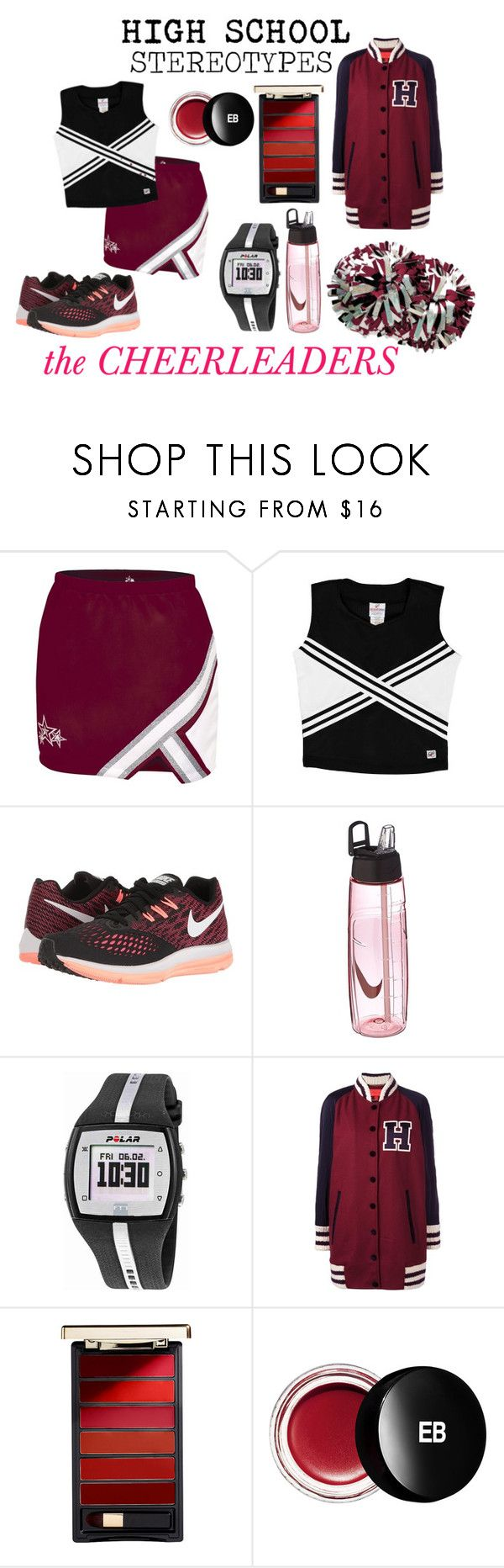 """HIGH SCHOOL STEREOTYPES"" by cianne-hale on Polyvore featuring Chassè, NIKE, Polar, Hilfiger Collection, L'Oréal Paris, Edward Bess, cheerleader, highschool and stereotypes"