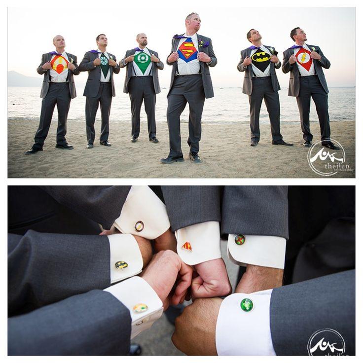 Lake Tahoe beach wedding by Cloud Nine Event Company, superhero groomsmen, Theilen Photography