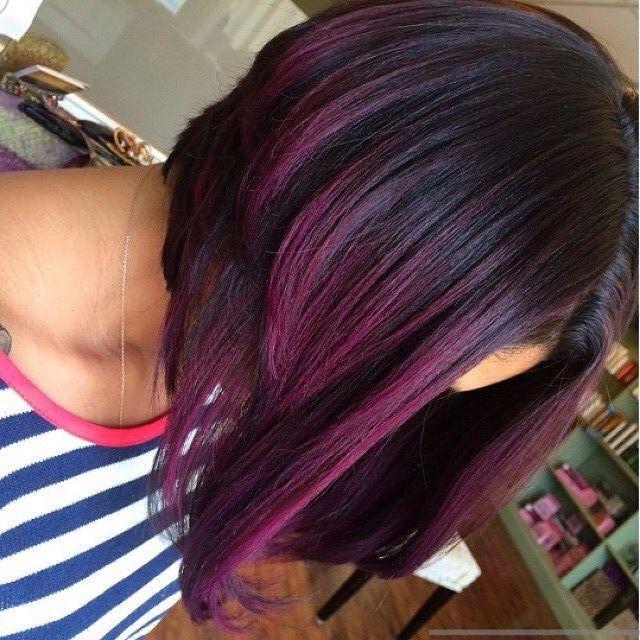 Purple ombre long bob