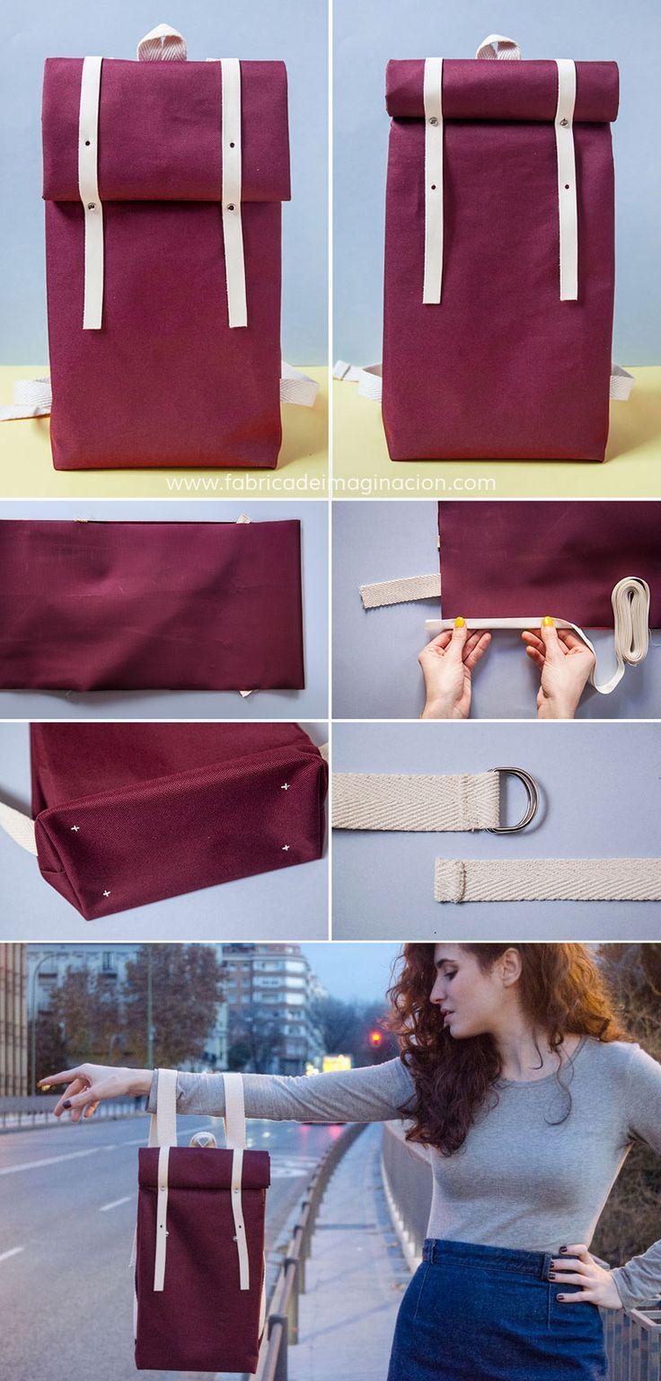 DIY folded-rolltop backpack DIN A4 · DIY Mochila doblada o enrollada DIN A4 · Fabrica de Imaginación · Steps in Spanish