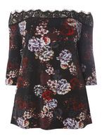 Womens DP Curve Plus Size Multi Coloured Floral Print Bardot Top- Multi