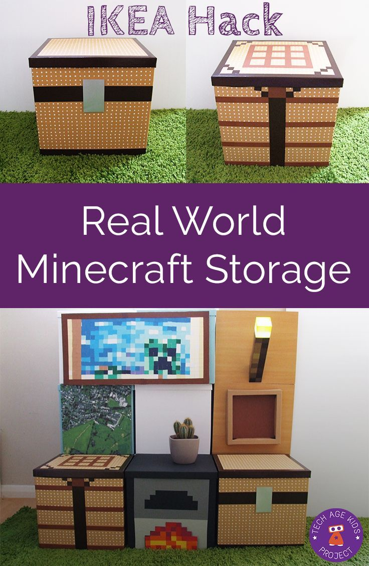 Make 'real-world Minecraft' storage with IKEA Tjena boxes and some craft supplies. Perfect storage decor for a kids bedroom or play room.