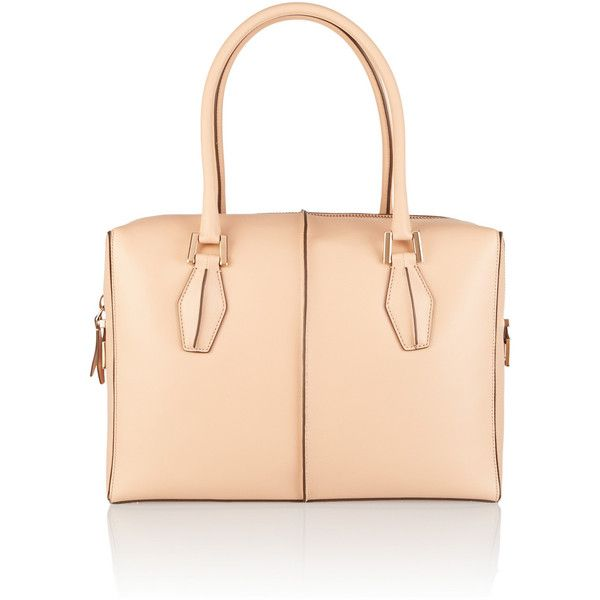 Tod's D-Cube Bauletto medium leather tote (6.725 VEF) ❤ liked on Polyvore featuring bags, handbags, tote bags, nude, zip tote bag, leather zipper tote, leather handbags, zip tote and tods handbag