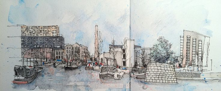 Beautiful sketch of New Islington, Manchester, by @simoneridyard