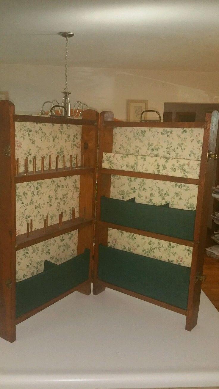 Nice Vintage Folding Sewing Cabinet Case Wood Box Station Primitive Folk Green U2022  £44.27   PicClick