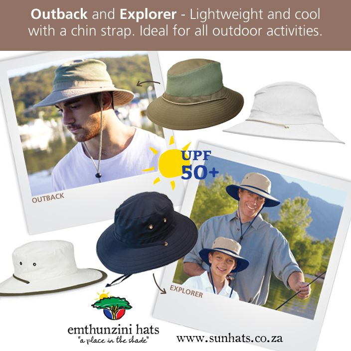 EXPLORER & OUTBACK: Come rain (or shine) these men's hats are water-repellent and ideal for all outdoor activities.  www.sunhats.co.za