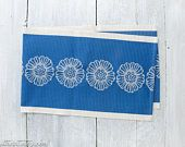 Vintage Woven Table Runner - Blue Table Scarf - Scandinavian Table Runner - Finnish Tapestry - Blue Midcentury Decor