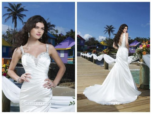 Beaded Straps Charmeuse Asymmetric Pleated Mermaid Wedding Gown with Deep V-back