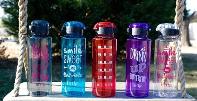 Fit Chic's BPA free water bottle is just what you need to stay hydrated during your day! Choose from 3 different designs.  Available in 4 colors.