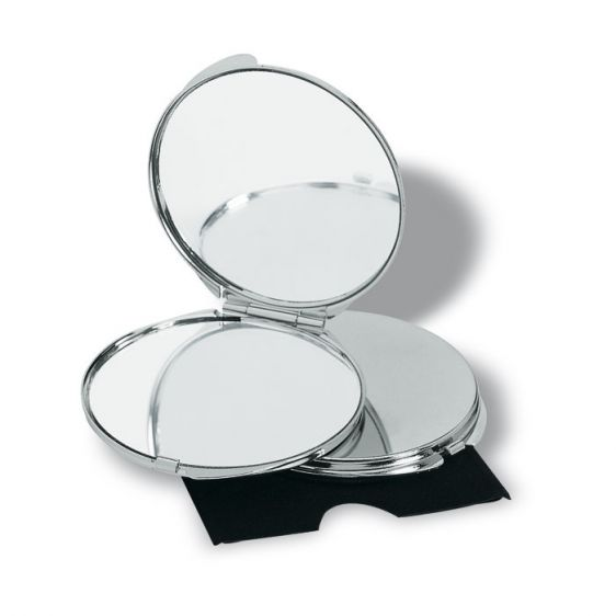 Specchietto doppio in metallo cromato in astuccio di velluto con riflesso reale ed ingrandito su Ibiscus gadget