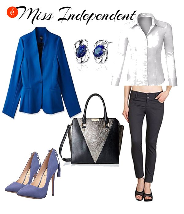 #lookoftheday Punctuate your mundane work wear with a bolt of blue. #businesscasual #formal #classic #chic