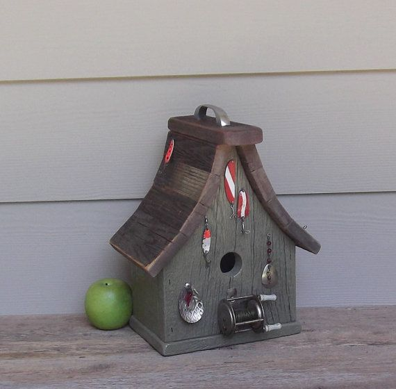 Fishing Theme Birdhouse, Rustic Birdhouse, Vintage Reel And Lures, One Of A  Kind, Reclaimed Wood, Outdoor Or Decorative Birdhouse, Primitive