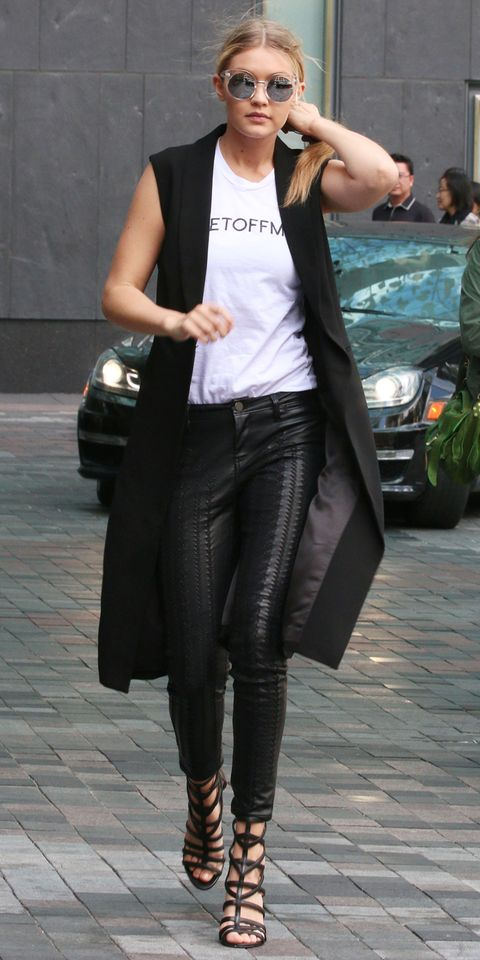 If a blazer is just too hot for you, think about a sleeveless vest. It's become a staple this summer for stars like Gigi Hadid, and in black adds some much needed drama to a tee.