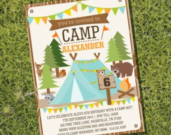 cute camp party printable set