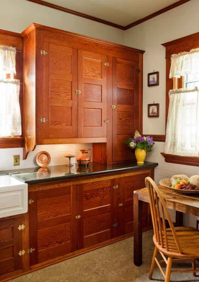 Restored Cabinets in a Renovated Craftsman Kitchen | Old House Restoration, Products & Decorating