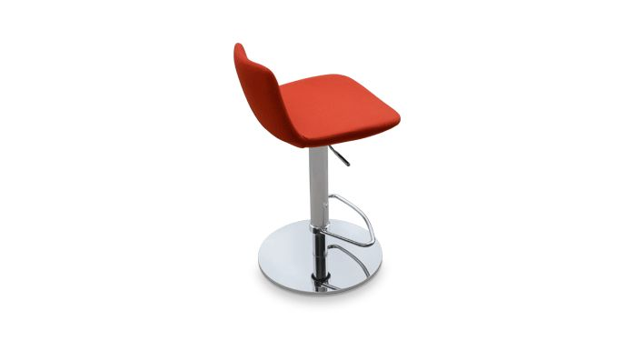 """This leatherette piston stool is a unique stool with a comfortable upholstered seat and backrest on an adjustable gas piston base which swivels and also adjusts easily from a counter height to a bar height with a lever that activates the gas piston mechanism. The solid steel round base is available in chrome or stainless steel. The seat has a steel structure with """"S"""" shape springs for extra flexibility and strength. This steel frame molded by injecting polyurethane foam."""