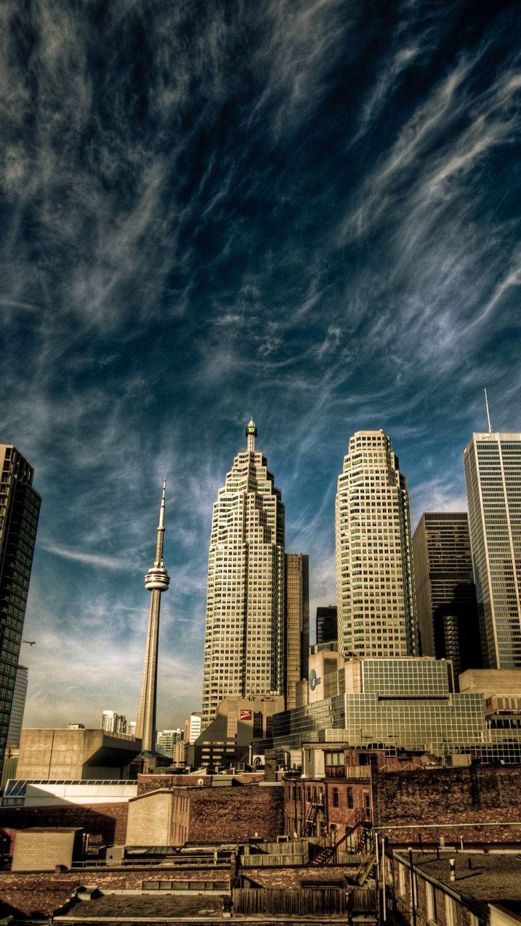 city, toronto, canada, sky, clouds, houses