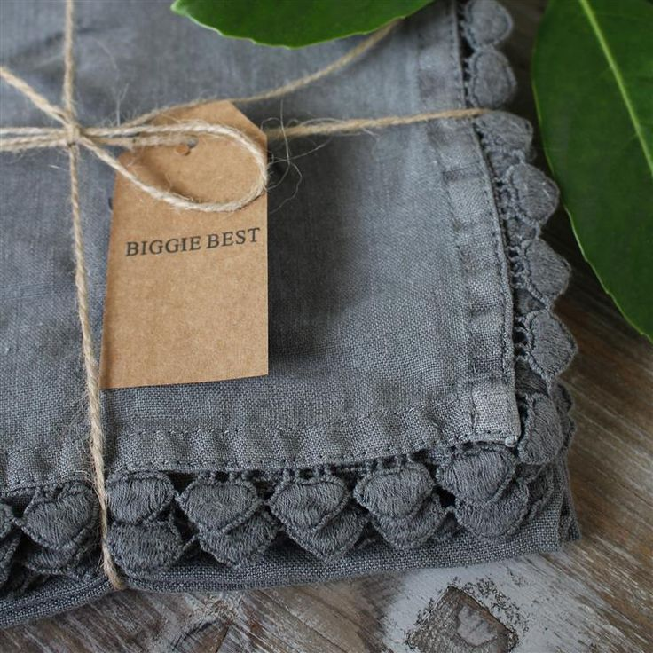 SET of 4 - Stone Washed Dark Grey Napkin