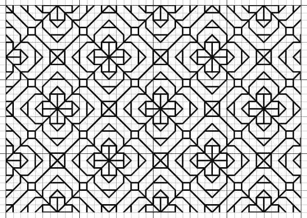 Blackwork Flower Fill Pattern
