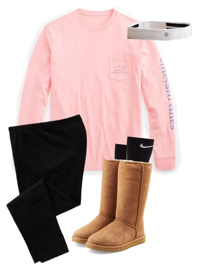 """pink for breast cancer outfit"" by libbyp16 ❤ liked on Polyvore featuring Vineyard Vines, NIKE, UGG Australia, Old Navy and lululemon"