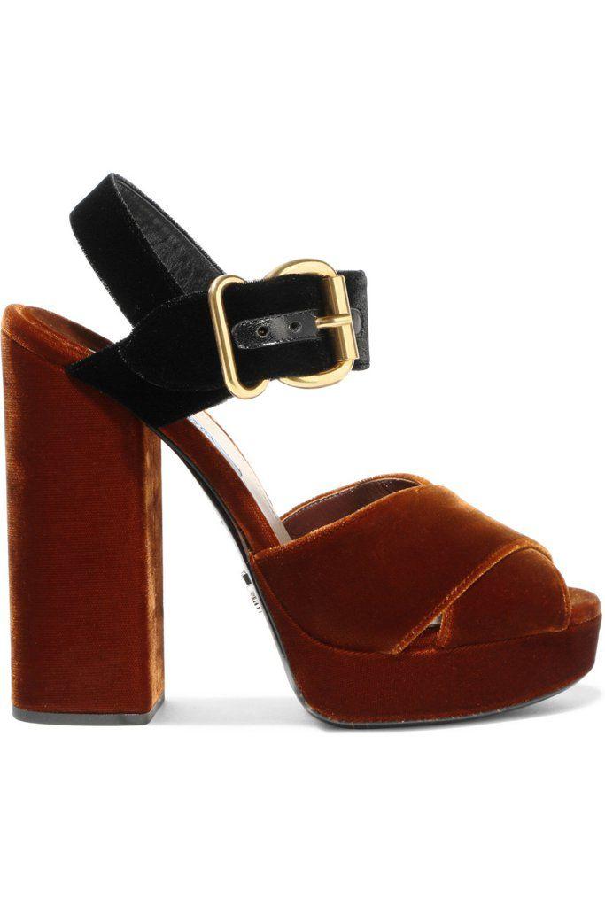 Prada Two-Tone Velvet Sandals ($825)