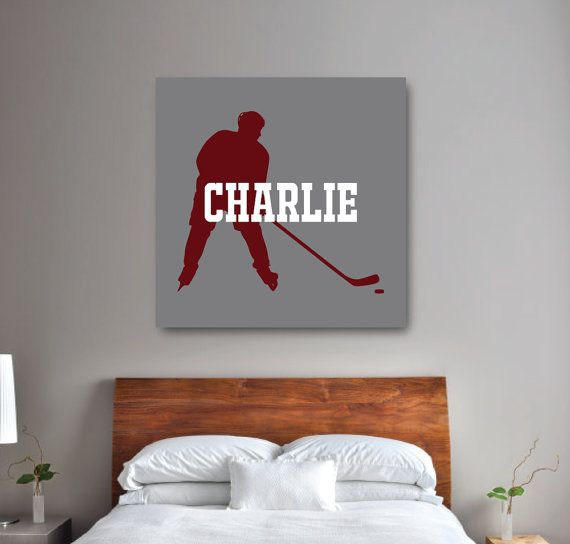 Ice Hockey Player Wall Art Boy's Hockey Bedroom Gallery