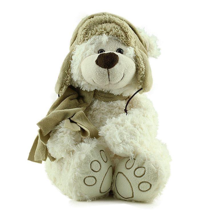 Urso Pelúcia Branco Chapéu Cachecol Marrom