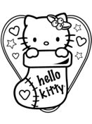 Hello Kitty in Christmas Sock Coloring page