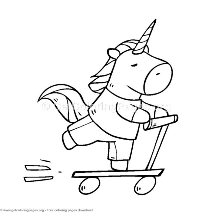 Cute Unicorn Riding A Scooter Coloring Pages Getcoloringpages Org Free Downloads Coloring Col Unicorn Coloring Pages Coloring Pages Animal Coloring Pages