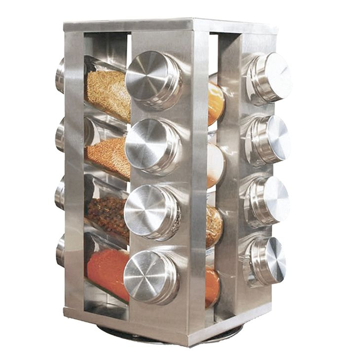 Spice Rack With 16 Jars, Stainless Steel, Revolving