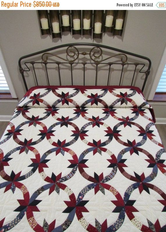 Indian Wedding Ring Quilt, Patchwork Quilt, Amish Quilt, Dark Red/Navy Quilt,  Cotton Quilt, King Size Quilt,Handmade Quilt,Quilted
