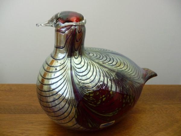 Nuutajärvi, glass bird 'Phaesant', Oiva Toikka