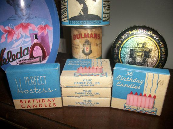 Vintage Atomic Era Happy Birthday Cake Candles by Mckcampbell