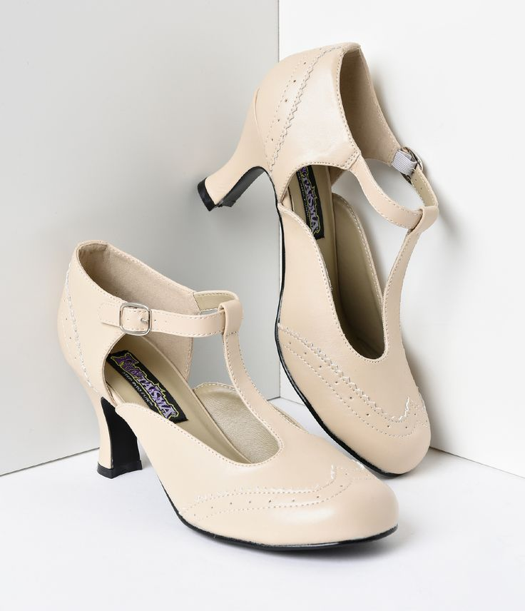 Pleather Cutout Kimmy T Strap Heels Vintage Wedding