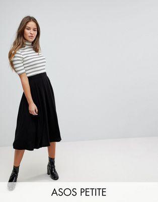 ASOS PETITE Midi Skirt with Box Pleats
