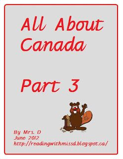 Reading with Mrs. D: Freebie: All about Canada unit Part three