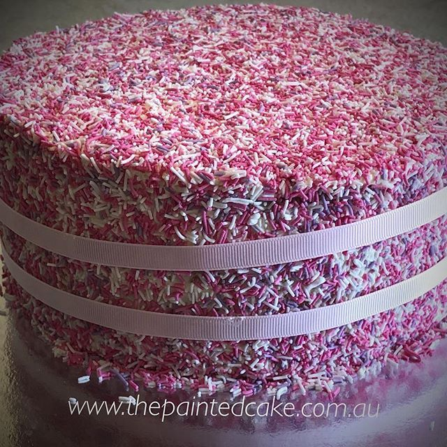 Sprinkle madness!!! #pinksprinkles #pink #pinkcake #sprinklecake #vanillamud #dollarfives #pinkbirthday #ilovepink #pretty #cutecakes #neverhavetoomuchpink #forthbirthday #pinkforthewin