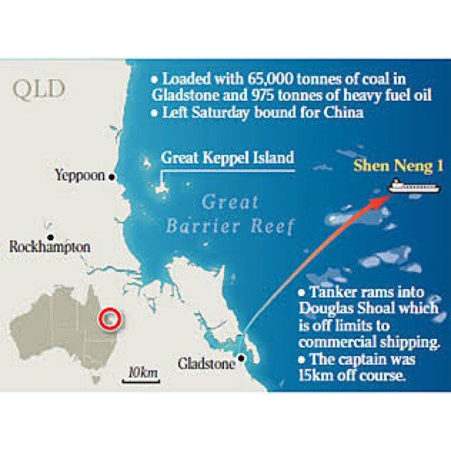 Five years ago Chinese oil tanker the Shen Neng 1 ran aground at full speed into the Douglas Shoal-Great Keppel Island a restricted area near Gladstone in the #greatbarrierreef Marine Park. It left a 3km 250m wide permanent scar now known as a dead zone. It's the worlds largest scar on a coral reef with highly toxic anti-fouling paint remaining within the Marine Park which is harmful to marine life. Although majority of the spill has been cleaned up & the vessel fined 12 months ago the Great…