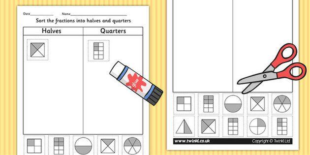 halves and quarters sorting worksheet fractions pinterest student centered resources. Black Bedroom Furniture Sets. Home Design Ideas