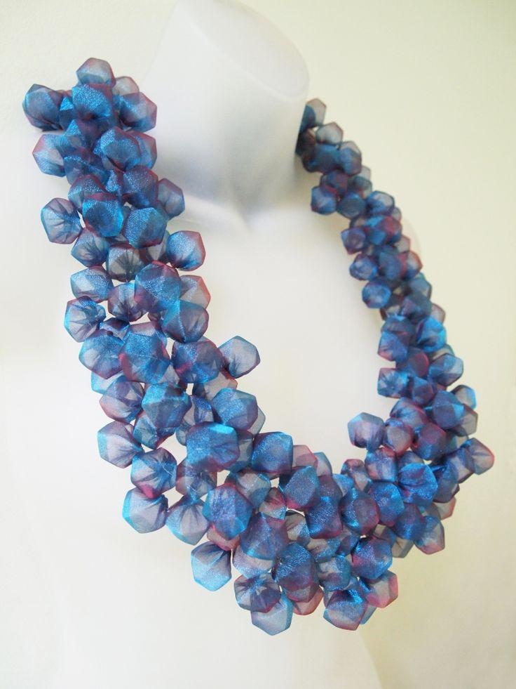 Mariko Kusumoto Drops  Necklace. Polyester, crocheted monofilament