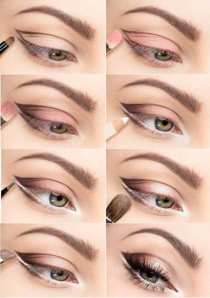 soft color for larger looking eyes - for small and hooded eyes - pink shadow
